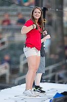 Taylor McCulloh of the Kannapolis Intimidators promotions team leads the fans in the Chicken Dance between innings of the game against the Lakewood BlueClaws at Kannapolis Intimidators Stadium on April 9, 2017 in Kannapolis, North Carolina.  The BlueClaws defeated the Intimidators 7-1.  (Brian Westerholt/Four Seam Images)