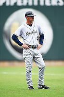 Kane County Cougars manager Mike Benjamin (4) during the first game of a doubleheader against the Cedar Rapids Kernels on May 10, 2016 at Perfect Game Field in Cedar Rapids, Iowa.  Kane County defeated Cedar Rapids 2-0.  (Mike Janes/Four Seam Images)
