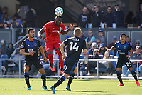 SAN JOSE, CA - FEBRUARY 29: Jozy Altidore #17 of Toronto FC goes up for a header during a game between Toronto FC and San Jose Earthquakes at Earthquakes Stadium on February 29, 2020 in San Jose, California.