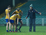 Manager of Clare Neil Hawes has a word with his forwards at half time during the Mc Nulty Cup U-21 final against Limerick at The Gaelic Grounds. Photograph by John Kelly.