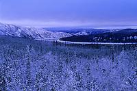 Yukon River and snow covered Ray Mountains, Alaska