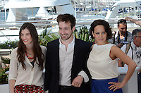 Louis le Prince Ringuet, Amandine Truffy, Pauline Caupenne attends the 'La Foret de Quiconces'' photocall during the 69th annual Cannes Film Festival at the Palais des Festivals on May 17, 2016 in Cannes, France.