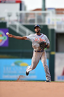 St. Lucie Mets shortstop Amed Rosario (11) throws to first during a game against the Fort Myers Miracle on April 19, 2015 at Hammond Stadium in Fort Myers, Florida.  Fort Myers defeated St. Lucie 3-2 in eleven innings.  (Mike Janes/Four Seam Images)