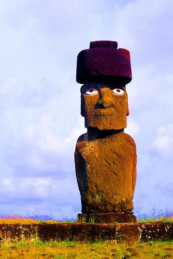 Wild colors of Moai Statues and scenics in Easter Island during Tapati Festival Rapa Nui