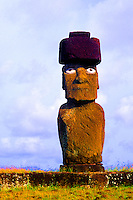 Wild colors of Moai Statues and scenics in Easter Island during Tapati Festival Rapa Nui