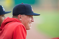 Springfield Cardinals pitcher Evan Kruczynski (35) looks on from the dugout on May 16, 2019, at Arvest Ballpark in Springdale, Arkansas. (Jason Ivester/Four Seam Images)