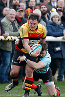 Ben Ransom of Blackheath Rugby tries to stop an attack during the English National League match between Richmond and Blackheath  at Richmond Athletic Ground, Richmond, United Kingdom on 4 January 2020. Photo by Carlton Myrie.