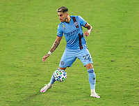 WASHINGTON, DC - SEPTEMBER 06: Ronald Matarrita #22 of New York City FC dribbles during a game between New York City FC and D.C. United at Audi Field on September 06, 2020 in Washington, DC.