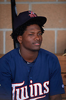 Elizabethton Twins shortstop Yeltsin Encarnacion (17) in the dugout before a game against the Bristol Pirates on July 28, 2018 at Joe O'Brien Field in Elizabethton, Tennessee.  Elizabethton defeated Bristol 5-0.  (Mike Janes/Four Seam Images)