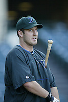 Steve Cox of the Tampa Bay Devil Rays before a 2002 MLB season game against the Los Angeles Angels at Angel Stadium, in Los Angeles, California. (Larry Goren/Four Seam Images)