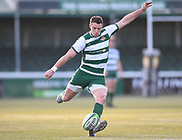 20th February 2021; Trailfinders Sports Club, London, England; Trailfinders Challenge Cup Rugby, Ealing Trailfinders versus Doncaster Knights; Steven Shingler of Ealing Trailfinders kicks a conversion