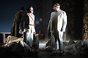 London, UK. 30.04.2014. English National Opera gives the world premiere of British composer Julian Anderson's first opera, THEBANS. Picture shows: Peter Hoare (Creon) and Roland Wood (Odeipus). Photograph © Jane Hobson.