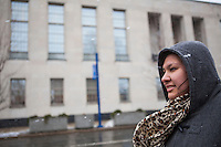 Esmeralda Moctezuma, at a protest in front of the Federal courts in Erie, PA on March 20, 2014, where HOLA and Painesville, Ohio Mexican American community members were raising awareness of deportations at a hearing for immigrant Alfredo Ramos. March 20, 2014. Erie, PA. Photo: Brendan Bannon.