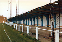 Covered terracing at Milton Keynes Borough Football Club, Manor Fields, Bletchley, Buckinghamshire, pictured on 1st December 1990