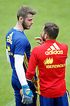 Spain's David De Gea (l) and Jordi Alba during preparing training stage to Euro 2016. May 30,2016.(ALTERPHOTOS/Acero)