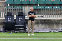 CARY, NC - AUGUST 01: Dave Sarachan watches from the technical area during a game between Birmingham Legion FC and North Carolina FC at Sahlen's Stadium at WakeMed Soccer Park on August 01, 2020 in Cary, North Carolina.