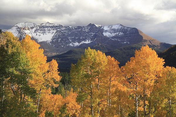 Snow capped Vermillion Peak in the San Juan Mountains, Telluride, Colorado, USA.