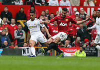 Pictured: (L-R) Neil Taylor, Robin van Persie.<br /> Sunday 12 May 2013<br /> Re: Barclay's Premier League, Manchester City FC v Swansea City FC at the Old Trafford Stadium, Manchester.