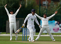 21st September 2021; Aigburth, Merseyside, England; County Championship Cricket, Lancashire versus Hampshire, Day 1; Tom Alsop of Hampshire survives a confident Lancashire appeal for lbw