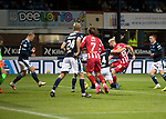 Dundee v St Johnstone…22.09.21  Dens Park.    Premier Sports Cup<br />Shaun Rooney scores to put saints 1-0 up<br />Picture by Graeme Hart.<br />Copyright Perthshire Picture Agency<br />Tel: 01738 623350  Mobile: 07990 594431