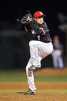Davidson Wildcats relief pitcher Ryan Lowe (17) in action against the Wake Forest Demon Deacons at Wilson Field on March 19, 2014 in Davidson, North Carolina.  The Wildcats defeated the Demon Deacons 7-6.  (Brian Westerholt/Four Seam Images)
