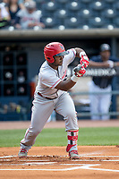 Louisville Bats second baseman Dilson Herrera (15) squares to bunt against the Toledo Mud Hens during the International League baseball game on May 17, 2017 at Fifth Third Field in Toledo, Ohio. Toledo defeated Louisville 16-2. (Andrew Woolley/Four Seam Images)