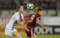 Jacksonville, FL - Thursday April 5, 2018: Tierna Davidson, Katie Johnson during an International friendly match versus the women's National teams of the United States (USA) and Mexico (MEX) at EverBank Field.