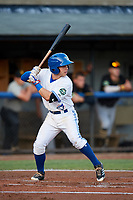 Bluefield Blue Jays third baseman Rafael Lantigua (25) at bat during the second game of a doubleheader against the Bristol Pirates on July 25, 2018 at Bowen Field in Bluefield, Virginia.  Bristol defeated Bluefield 5-2.  (Mike Janes/Four Seam Images)