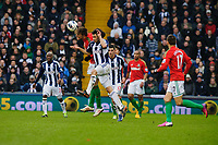 Saturday, 9 March 2013<br /> <br /> Pictured: Michu of Swansea City heads the ball<br /> <br /> Re: Barclays Premier League West Bromich Albion v Swansea City FC  at the Hawthorns, Birmingham, West Midlands