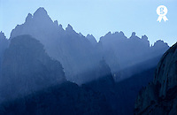 Sunbeams on Mountain summits, Bavella needles, Alta Rocca - Corsica Island<br />  (Licence this image exclusively with Getty: http://www.gettyimages.com/detail/85071288 )