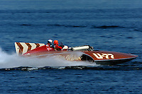 """Original driver Mira Slovak (white helmet) and driver David Williams in the U-77 """"Miss Wahoo"""" (Replica of the vintage 1956 hull built in 2009)..1-2 August, 2009 Seattle, Washington USA..©2009 F.Peirce Williams USA.."""