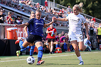 CARY, NC - SEPTEMBER 12: Merritt Mathias #11 of the North Carolina Courage is defended by Lindsey Horan #10 of the Portland Thorns FC during a game between Portland Thorns FC and North Carolina Courage at Sahlen's Stadium at WakeMed Soccer Park on September 12, 2021 in Cary, North Carolina.