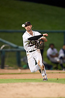 Frederick Keys third baseman Collin Woody (21) throws to first base during the second game of a doubleheader against the Lynchburg Hillcats on June 12, 2018 at Nymeo Field at Harry Grove Stadium in Frederick, Maryland.  Frederick defeated Lynchburg 8-1.  (Mike Janes/Four Seam Images)