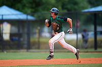 Dartmouth Big Green shortstop Nate Ostmo (19) running the bases during a game against the Southern Maine Huskies on March 23, 2017 at Lake Myrtle Park in Auburndale, Florida.  Dartmouth defeated Southern Maine 9-1.  (Mike Janes/Four Seam Images)