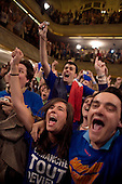 Paris, France.May 6, 2007..Supporters of conservative UMP French Presidential candidate Nicolas Sarkozy listen and celebrate as the results of the vote are announced at 8PM during a party rally held in Salle Gaveau. 85% of French voters turned out to elect Sarkozy as their next President ahead of socialist candidate Segolene Royal. Sarkozy claimed 53% of the vote.....