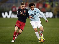 Calcio, Serie A: Lazio - Genoa, Roma, Stadio Olimpico, 5 Febbraio 2018. <br /> Lazio's Felipe Anderson (r) in action with Genoa's Darko Lazovic (l) during the Italian Serie A football match between Lazio and Genoa at Rome's Stadio Olimpico, February 5, 2018.<br /> UPDATE IMAGES PRESS/Isabella Bonotto
