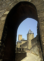 Arched doorway between walls of the medeival city of Carcassonne, Languedoc, France.