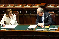 Italian Minister of Internal Affairs Luciana Lamorgese and Italian Minister of Economy Roberto Gualtieri during the Premier speech at the Chamber of Deputies. Rome (Italy), July 22nd 2020<br /> Foto Samantha Zucchi Insidefoto