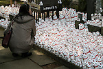 A visitor looks at the Maneki-Neko figurines on display at Goutoku Temple on January 26, 2016 in Tokyo, Japan. The temple and the surrounding area is well known for its massive collection of Maneki-Neko, literally beckoning cats. The cats  are a common Japanese charm thought to bring good luck to the owner. They are often displayed at the entrance to shops and restaurants but Goutoku Temple goes one further and displays over 1000 cats throughout its ground. (Photo by Rodrigo Reyes Marin/AFLO)
