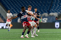 FOXBOROUGH, MA - AUGUST 21: Mayele Malango #10 of New England Revolution II and Ian Antley #2 of Richmond Kickers battle for the ball during a game between Richmond Kickers and New England Revolution II at Gillette Stadium on August 21, 2020 in Foxborough, Massachusetts.
