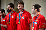 The reception of Prime Minister Mariano Rajoy to Spain national basketball team gold at EuroBasket 2015 at Moncloa Palace in Madrid, 21 September, 2015.<br /> Nikola Mirotic, Pau Gasol and Felipe Reyes.<br /> (ALTERPHOTOS/BorjaB.Hojas)