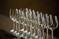 Wine glasses. Chateau Sansonnet, Saint Emilion, Bordeaux, France