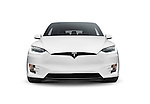 White 2017 Tesla Model X luxury SUV electric car front view isolated on white background Image © MaximImages, License at https://www.maximimages.com