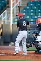Chattanooga Lookouts catcher Dan Rohlfing (8) at bat in front of catcher Oscar Hernandez (28) during during a game against the Jackson Generals on April 27, 2017 at The Ballpark at Jackson in Jackson, Tennessee.  Chattanooga defeated Jackson 5-4.  (Mike Janes/Four Seam Images)