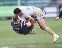 14th February 2021; Sixways Stadium, Worcester, Worcestershire, England; Premiership Rugby, Worcester Warriors versus Wasps; Malakai Fekitoa of Wasps with a heavy tackle on Perry Humphreys of Worcester Warriors