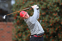 PINEHURST, NC - MARCH 02: Carter Graf of North Carolina State University tees off on the first hole at Pinehurst No. 2 on March 02, 2021 in Pinehurst, North Carolina.