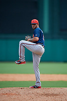 Atlanta Braves pitcher Matt Rowland (90) delivers a pitch during a Florida Instructional League game against the Canadian Junior National Team on October 9, 2018 at the ESPN Wide World of Sports Complex in Orlando, Florida.  (Mike Janes/Four Seam Images)