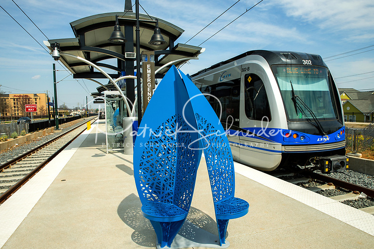 Photography of the Charlotte LYNX Blue Line Light- rail extension from the 9th Street Station in Uptown Charlotte to the UNC Charlotte Campus.<br /> <br /> Charlotte Photographer - Patrick SchneiderPhoto.com