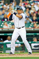 Miguel Cabrera (24) of the Detroit Tigers at bat against the Tampa Bay Rays at Comerica Park on June 4, 2013 in Detroit, Michigan.  The Tigers defeated the Rays 10-1.  Brian Westerholt/Four Seam Images