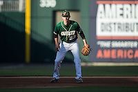 Charlotte 49ers third baseman Hunter Jones (33) on defense against the North Carolina State Wolfpack at BB&T Ballpark on March 31, 2015 in Charlotte, North Carolina.  The Wolfpack defeated the 49ers 10-6.  (Brian Westerholt/Four Seam Images)